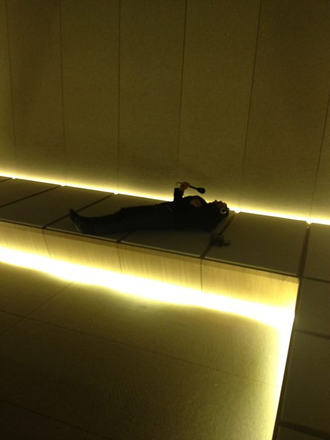 "Simon Browning escapes the shopping crowds in the Selfridges ""Silent Room"""