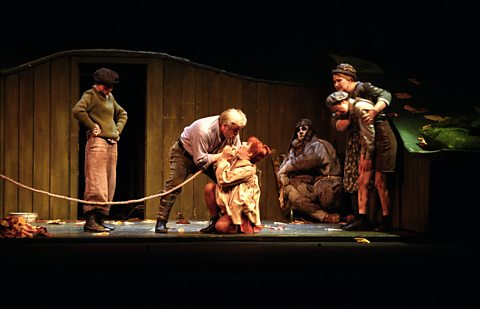 Act II: Alan Opie (Forester), Rosemary Joshua (Bystrouska) & Ernesto Panariello (Lapak, the dog)