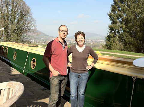 Helen with David Morgan of British Waterways alongside the Monmouthshire and Brecon Canal