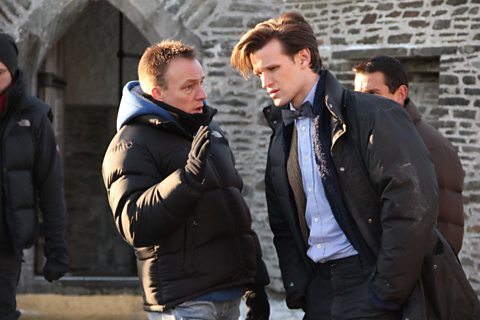 Stunt Co-ordinator Crispin talks to Matt on location
