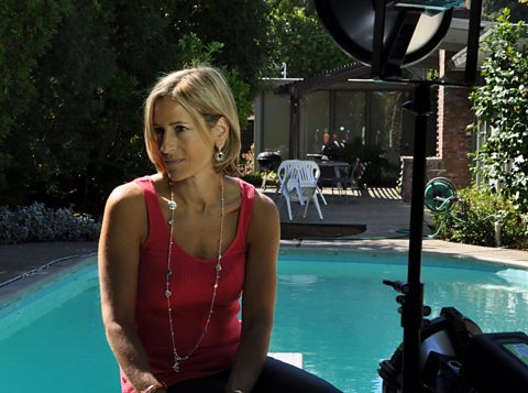 Emily Maitlis filming at the house Mark Zuckerberg and his friends rented in California