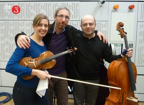Pianist Noam Greenberg, violinst Marina Chiche and cellist Alexander Chuashian