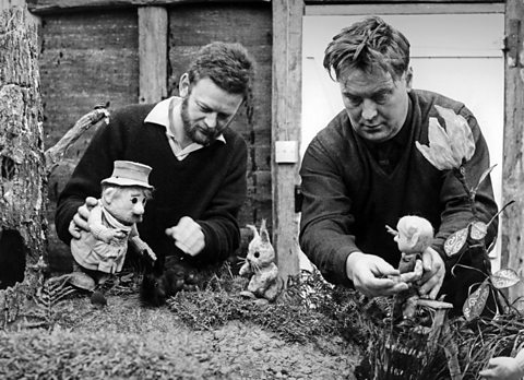 Oliver Postgate and Peter Firmin on set with The Pogles