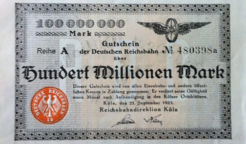 A German bank note from the time of the Weimar Republic