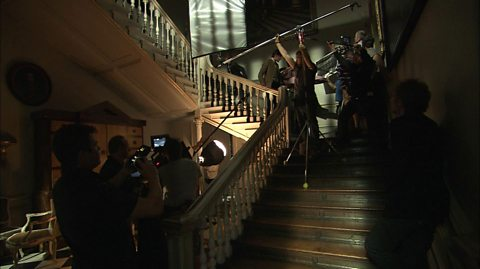Filming on a staircase with Matt Smith