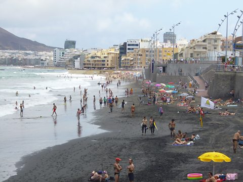 Black sand on the surfing beach, Las Palmas
