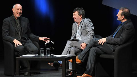 Pete Townshend in conversation with Radcliffe and Maconie at the end of the lecture