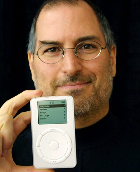 Steve Jobs with the iPod in 2001