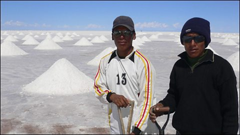 Bolivian salt gatherers