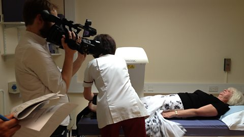 Filming a DEXA scan at Ipswich Hospital