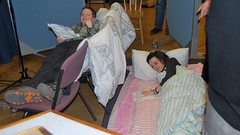 Elliott Griffiths (Marcus) and Shannon Flynn (Ruthie) recording a scene in their bunk beds
