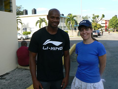 Claudia at MVP's training ground with former World 100 metre champion, Asafa Powell