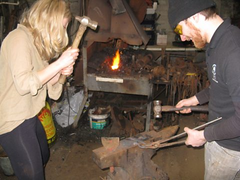 Hammering in the old forge