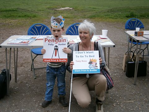 Eileen and her grandson at Stories in the Park event