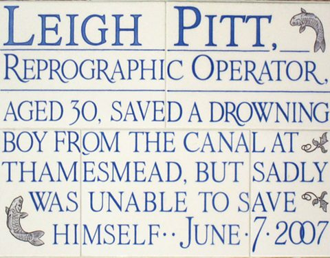 Leigh Pitt's commemoration on the Memorial of Heroic Self Sacrifice