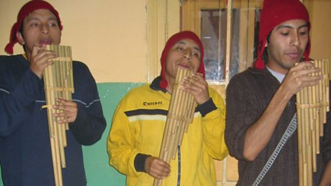 Members of the Puno Youth Association panpipe group
