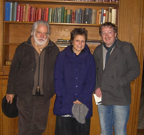Michael Chaplin, Kate Guyonvarch and Matthew Sweet in Charlie's library