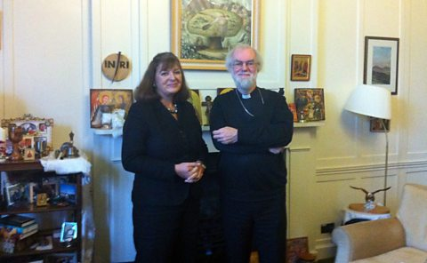 Bridget Kendall with Archbishop Rowan Williams at Lambeth Palace