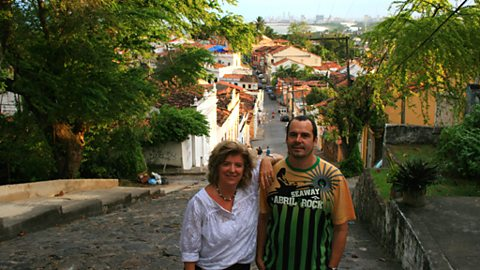 Lucy and paulo andre at the top of one of olinda's steep hills