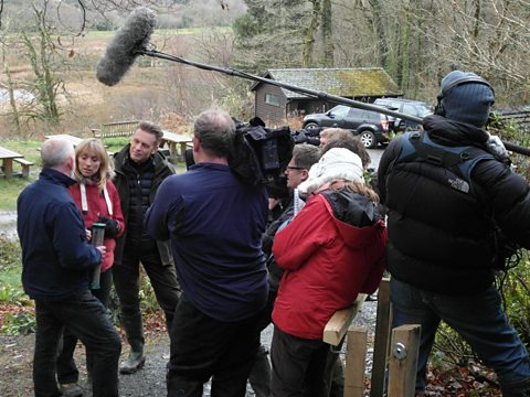 Filming the Christmas Special at Ynys-hir