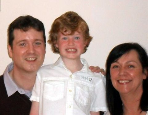 Darren Gibson with his son Sam and Anne Morrison-Smyth