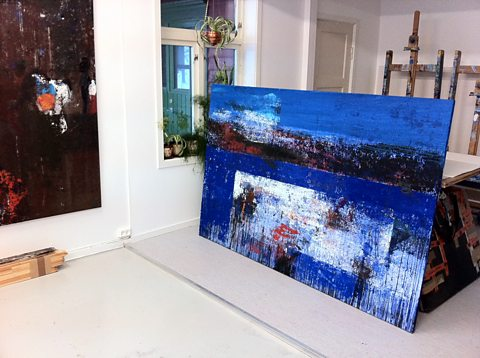 Yngve's studio with one of his beautifully textured oil canvases