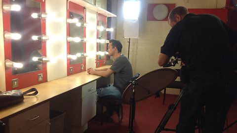 Gareth being filmed in the dressing room