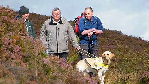 Robert Ferguson with dog Kent and fellow walkers