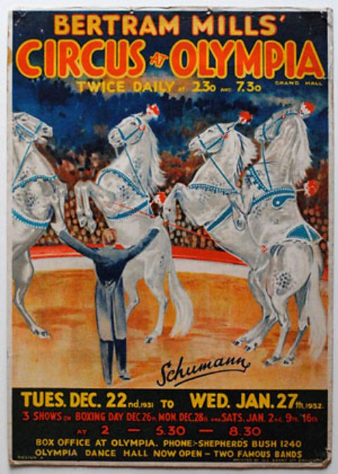 Bertram Mills' Circus at Olympia poster, dated 1932.