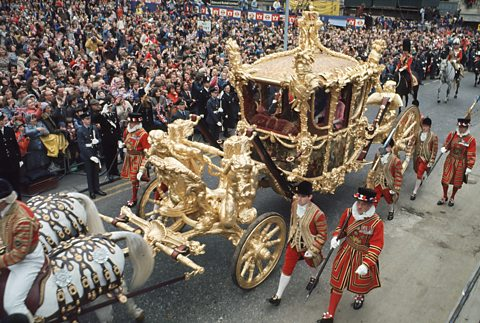 Silver Jubilee: Queen Elizabeth II arrives at St Pauls Cathedral, in the Gold State Coach