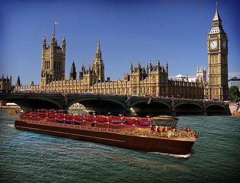 An artist's impression of the Royal Barge by Houses of Parliament