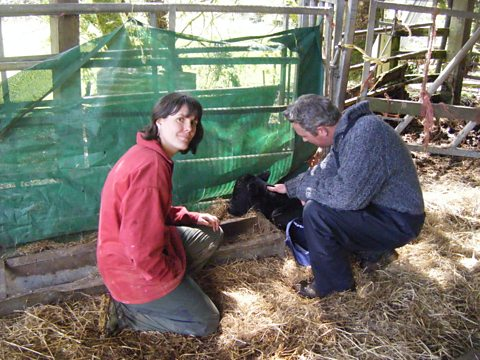 Jules and farmer Kat with the 3 day old calf