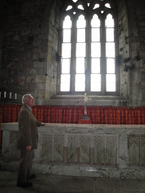 Bishop Stephen at the Communion table, Iona Abbey