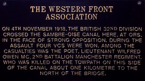 Plaque on bridge near where Owen was killed (Photo credit: Simon Patterson)