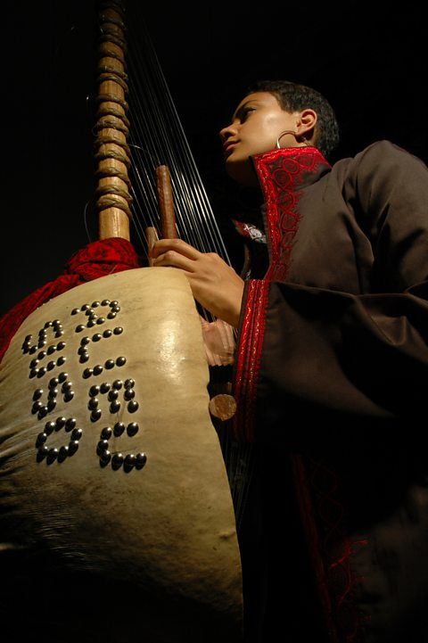 Sona Jobarteh playing the Kora, a 21-string  West African harp