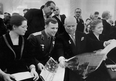 Photo: Yuri Gagarin (2nd left) and Nikita Khrushchev (2nd right)
