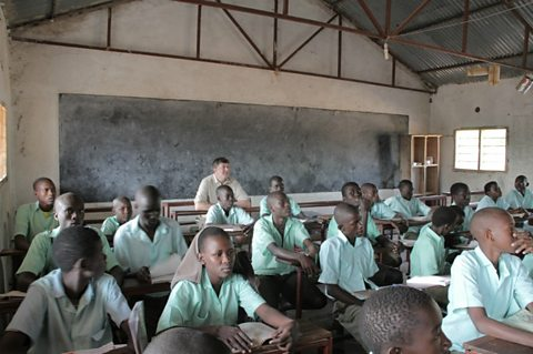 Stephen Fry with Turkana school children