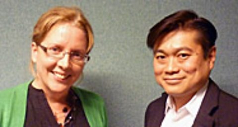 Carrie Gracie (left) with Joi Ito