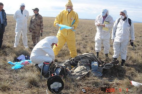 Geophysicists at work during the field exercise in Kazakhstan.