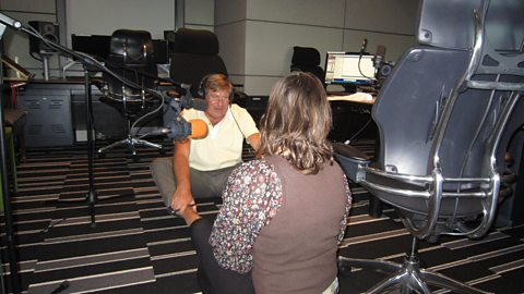 Edward Stourton attempting Yoga with Jane Craggs