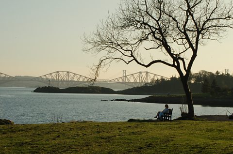Looking across from Dalgety Bay to the Forth Bridge on a sunny evening in Spring