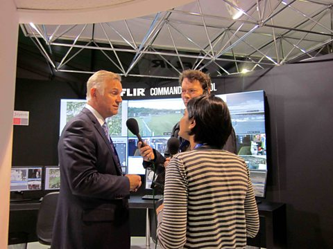 Angela talking to David Smith of FLIR