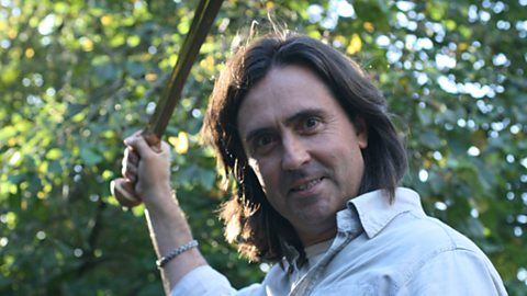 Neil Oliver wields a Bronze sword
