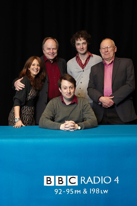 (l-r) Lucy Porter, Clive Anderson, David Mitchell, Chris Addison and Graeme Garden