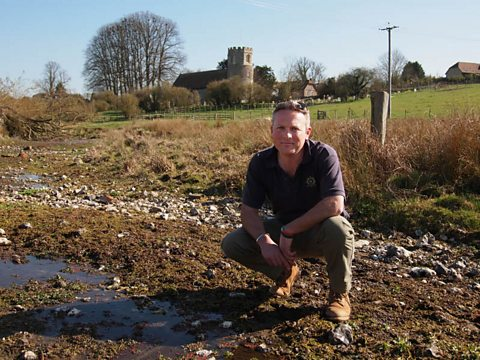 Jules in the dry bed of the River Lambourn in Berkshire