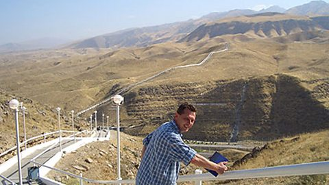 Andy at the 'Walk of Health',the mountains of Iran in the background