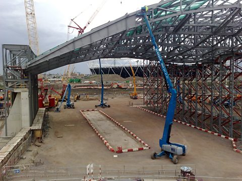 Work underway on the radical roof of the Zaha Hadid-designed Aquatic Centre