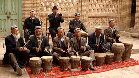 Shawm and drum group, shule, xinjiang
