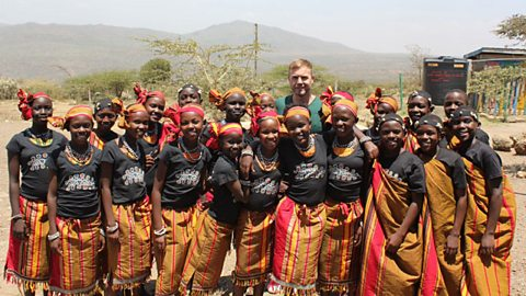 Gary Barlow with the African Childrens Choir in Kenya