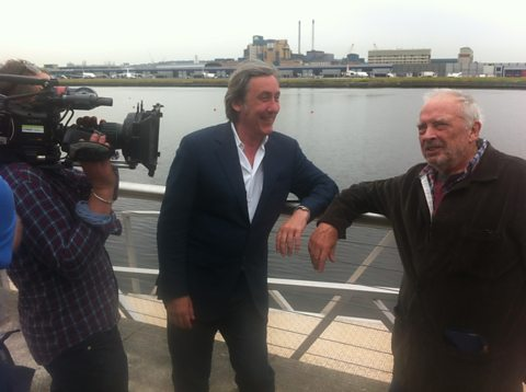 Andrew Graham-Dixon and David Bailey at the royal docks in east London